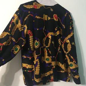 Vtg 80s Linda Allard Ellen Tracy petite silk top 8